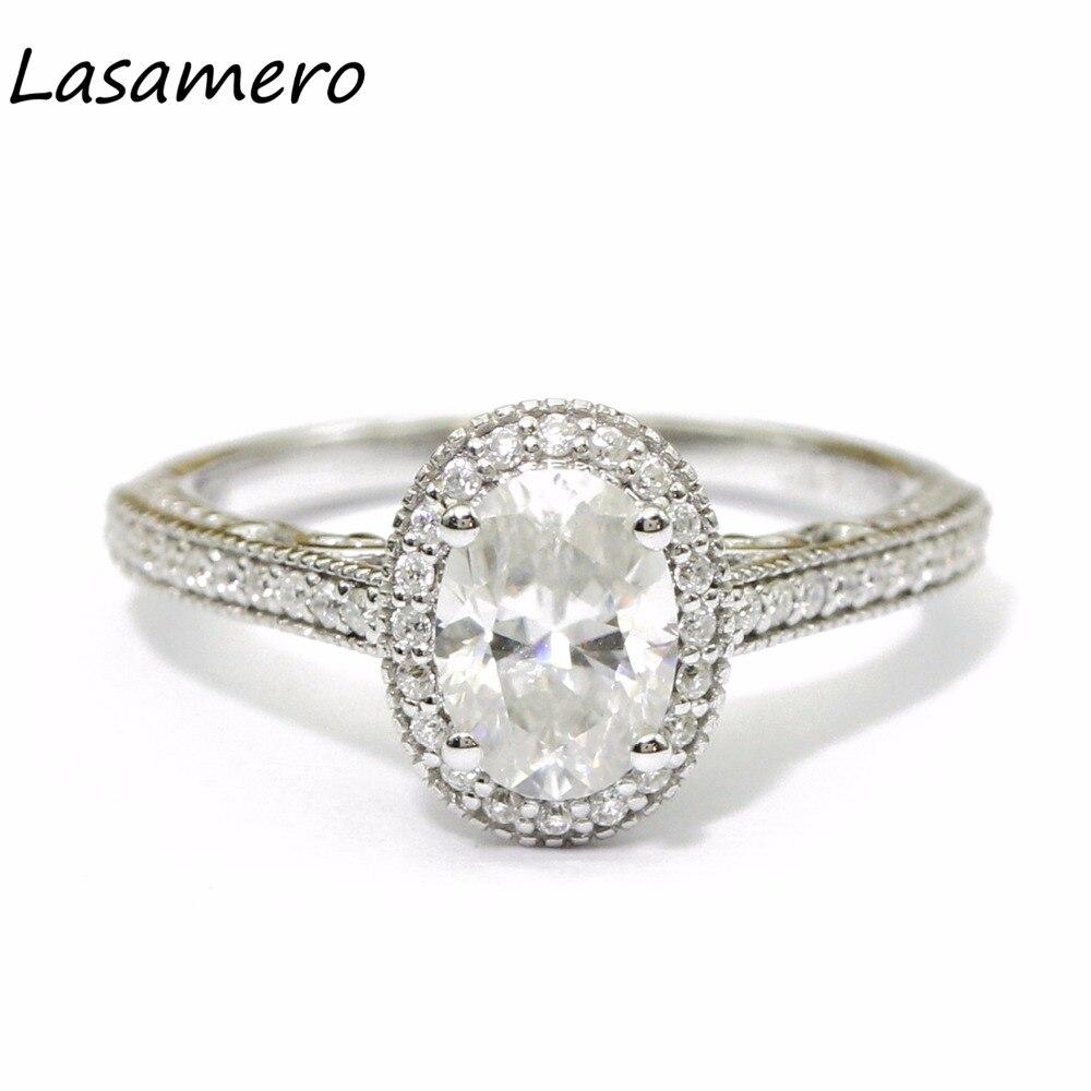 Lasamero 7*5 мм Роскошные овальным вырезом Имитация Алмазный Обручение кольцо стерлингового серебра 925 Halo акценты обещание обручальное кольцо ...