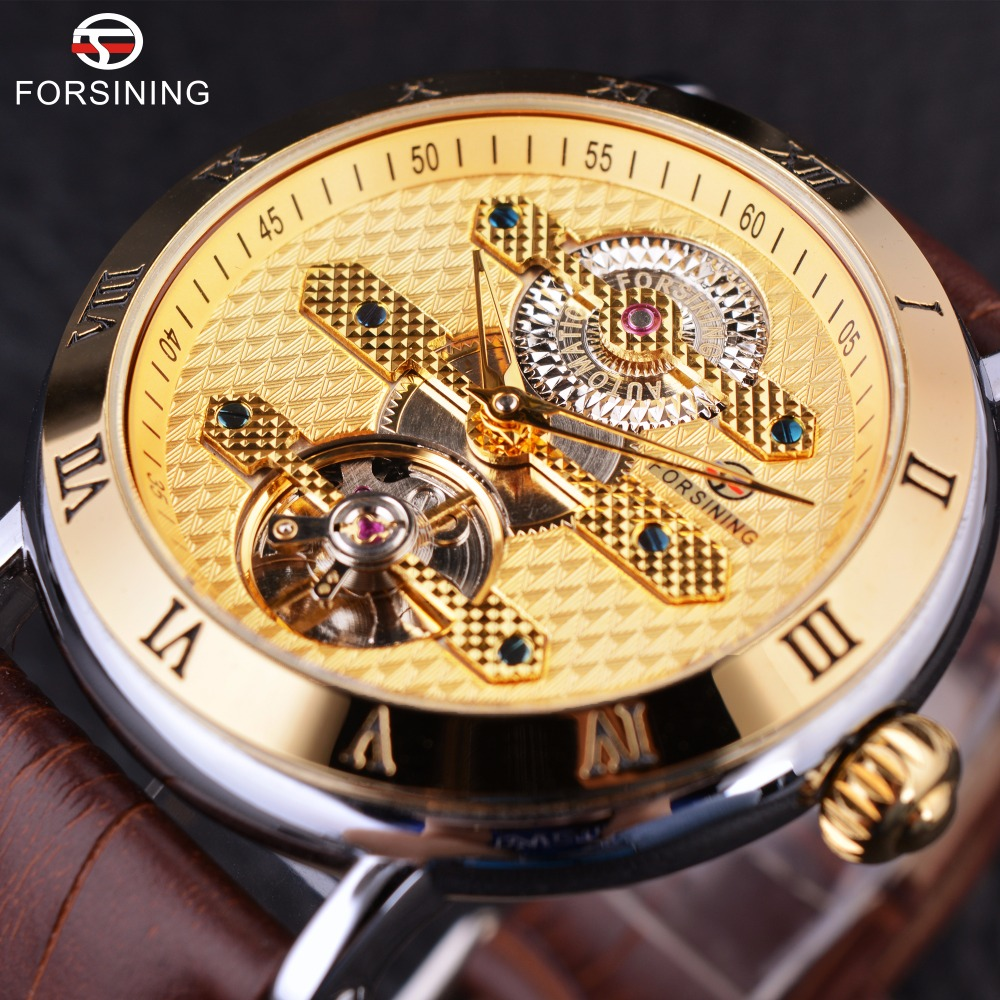 Forsining Full Golden Luxury Tourbillion Design 3 ATM Waterproof Resistance Mens Watches Top Brand Luxury Automatic Watch Clock forsining 3d skeleton twisting design golden movement inside transparent case mens watches top brand luxury automatic watches