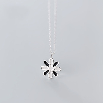 Mini Black White Sunflower 925 Sterling Silver Necklace