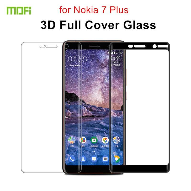 MOFi Pour Nokia 7 Plus verre trempé 6.0 pouces Pleine Couverture Téléphone protecteur d'écran En Verre pour Nokia 7 Plus 3D Courbe film de protection
