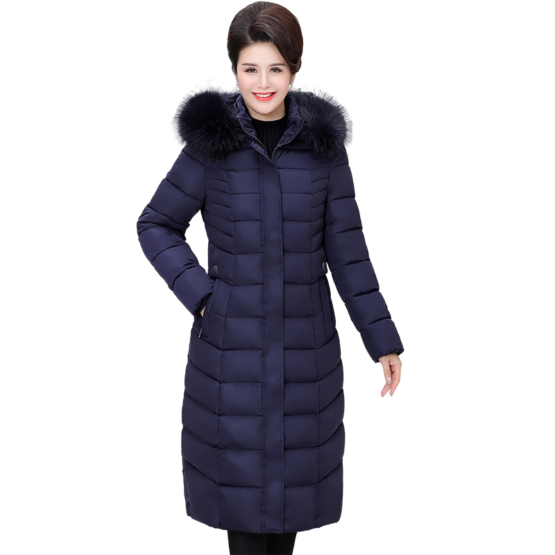 Winter Women Coats Plus size 5XL 6XL Middle-aged Mother Costume New Hooded   Parkas   Thicken Warm Down Cotton Jacket High Quality