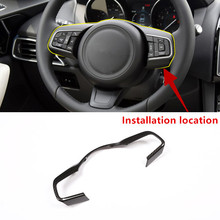 Carbon Fiber Style Car Steering Wheel Frame Decoration Cover Trim For Jaguar F-PACE X761 2016-18 ABS Interior Modified Decals carbon fiber style center console gear shift panel decoration cover trim for jaguar xe x760 f pace x761 2016 18 abs modified