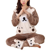2017 Grils Warm Flannel Pajama Set Sleepwear Cute Bear Tops Pants Home Wear Winter Nightwear