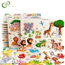 Baby Speelgoed Montessori Houten Puzzel Hand Grab Board Educatief Houten Speelgoed Cartoon Voertuig Marine Dier Puzzel Kind Gift Gyh
