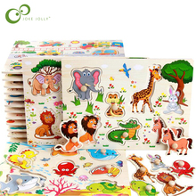 Baby Spielzeug Montessori holz Puzzle Hand Greifen Bord Pädagogisches Holz Spielzeug Cartoon Fahrzeug Marine Tier Puzzle Kind Geschenk GYH