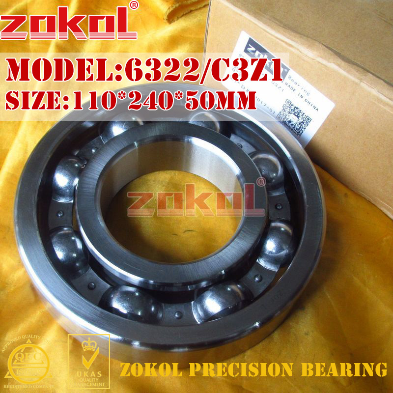 ZOKOL bearing 6322 C3Z1  3G322/Z1 Deep Groove ball bearing 110*240*50mm