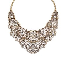 Mix order New SPX3825 Fashion Vintage Hollow Choker Chunky Flower big Necklace Retro Crystal Jewelry Statement