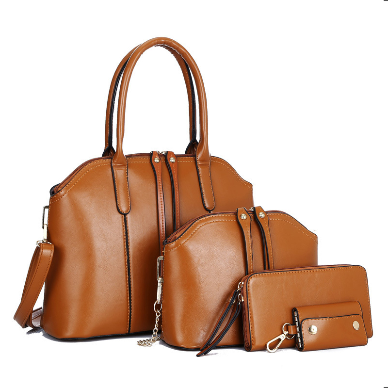 4Pcs/Sets Women Handbags PU Leather Shoulder Bags Female Large Capacity Casual Tote Bag Bucket Purses And Handbags Sac Femme