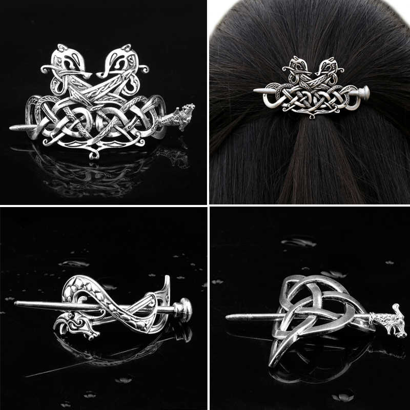 HANCHANG Viking Celtics Knots Runes Dragons Hairpin Vintage Metal Hair Stick Slide Hair Clip Women Hair Jewelry Accessories Gift