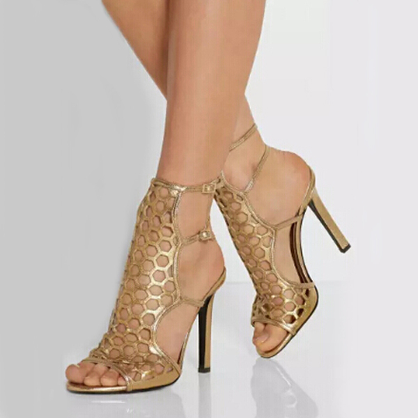 Hot selling golden double ankle buckle strap stiletto heel sandals fashion elegant concise hollow out high heel sandals hot selling stylish fringe ankle wrap back zipper stiletto heel sandals elegant cross strap beige suede tassel sandals high heel