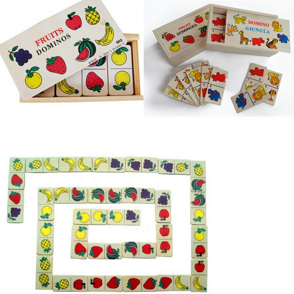 JIMMY BEAR 1 Pcs Wooden Domino Solitaire Fruit Animal Blocks Kids Educational font b Toys b