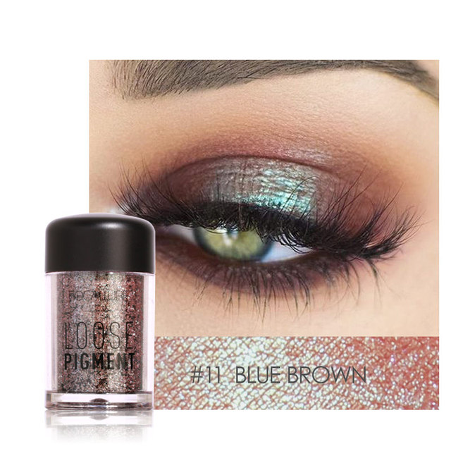 FOCALLURE Glitter Eye Shadow Powder Pigment Easy To Wear Professional Eye Makeup Shimmer Loose Powder Eyeshadow 1
