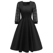 summer dress new arrival 2019 midi lace Red blue black vintage ladies dresses elegant long sleeve luxury designer