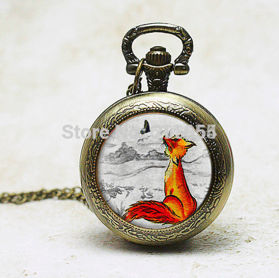 Handamde 1pcs/lot quartz Watch necklace pendant charm mens pocket watches Fox Illustration picture pendant wearable art womens