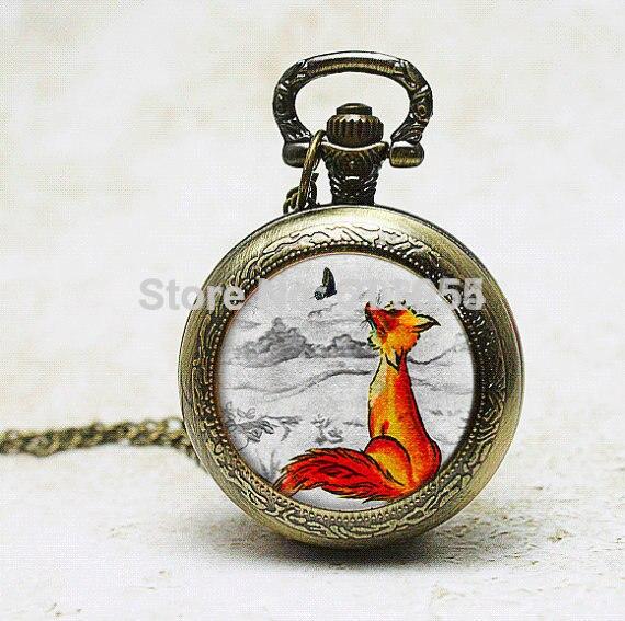 Handamde 1pcs/lot quartz Watch necklace pendant charm mens pocket watches Fox Illustration picture pendant wearable art womens