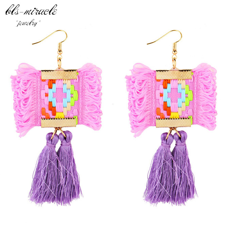 bls-miracle fashion jewelry accessories Bohemia gold color National style tassel dangle drop earring best femme gift E462