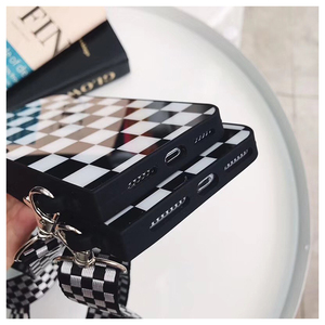 Image 5 - שחור לבן משובץ משובץ טלפון Crossbody מקרה כיסוי עם רצועה ארוכה שרשרת עבור iPhone 11 פרו XS MAX XR X 6S 7 8 בתוספת מקרה קוב