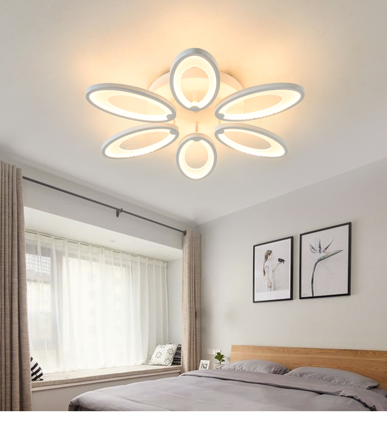 lowest price Discount 6 heads  New Design Acrylic Modern Led Ceiling Lights lampe plafond avize Indoor lighting 100-240V APP Remote control