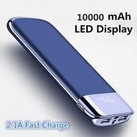 RHOADA Power Bank 10000 MAh LED Display 2 1A Fast Charge PowerBank Portable Charger For Xiaomi