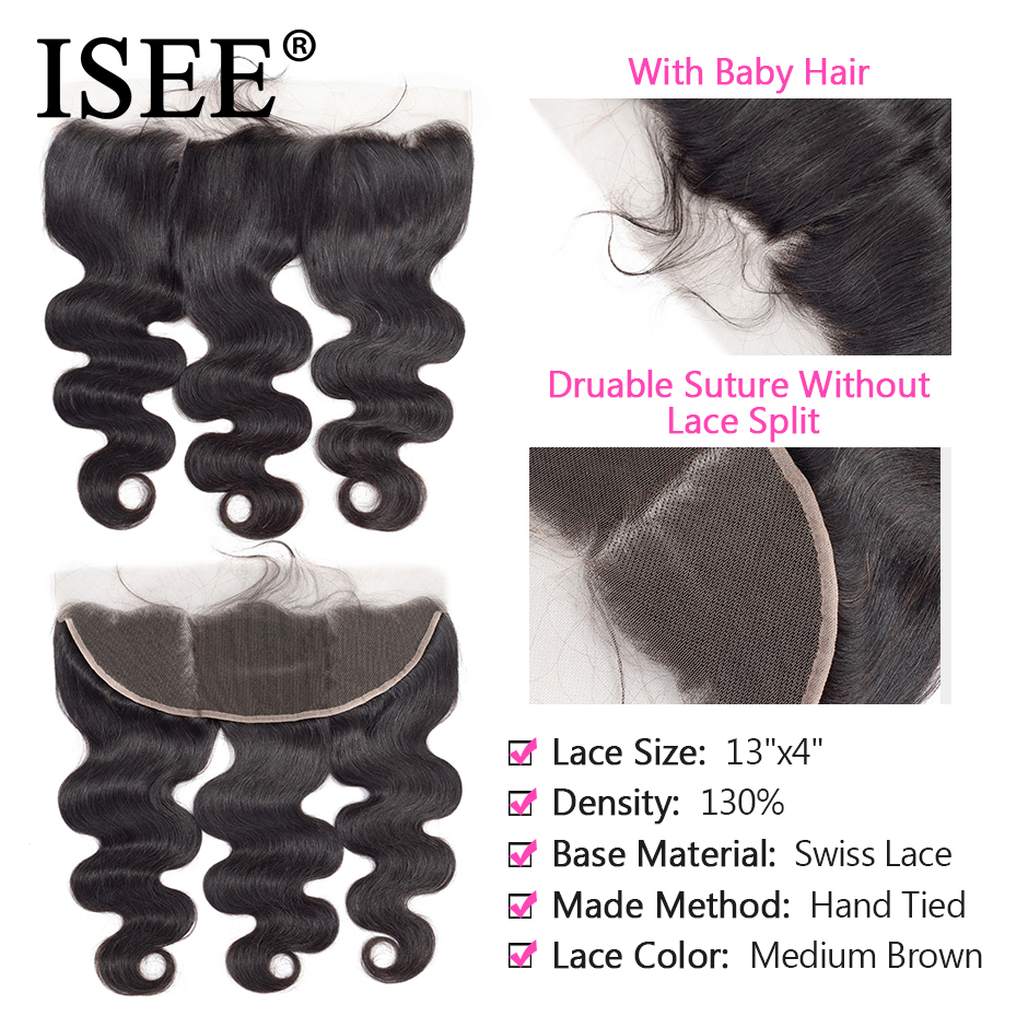 ISEE HAIR Brazilian Body Wave Lace Frontal Closure 13*4 Swiss Lace - Human Hair (For Black) - Photo 3