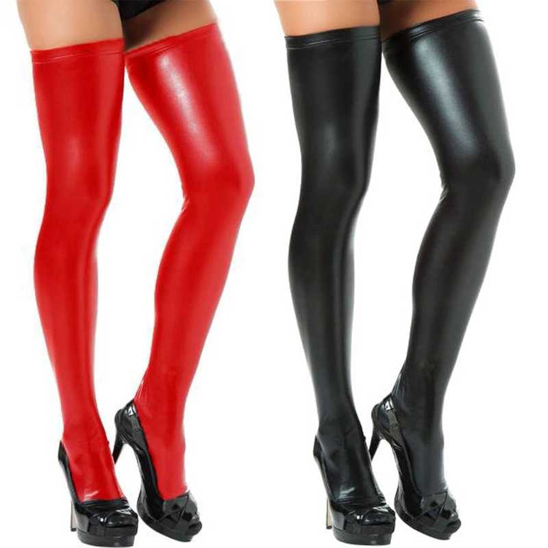 สตรีกว่าเข่าถุงเท้ากางเกงหนังFauxสบายๆยาวO Verkneeถุงน่องสีดำ,สีแดง,สีเงิน,ทองHot!