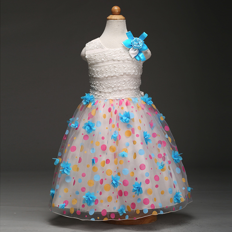 2017 flower girls dresses Costume Lovely Polka Dot Flowers dress Clothes Children Christmas Wedding Party for 4 5 6 8 10 12 year