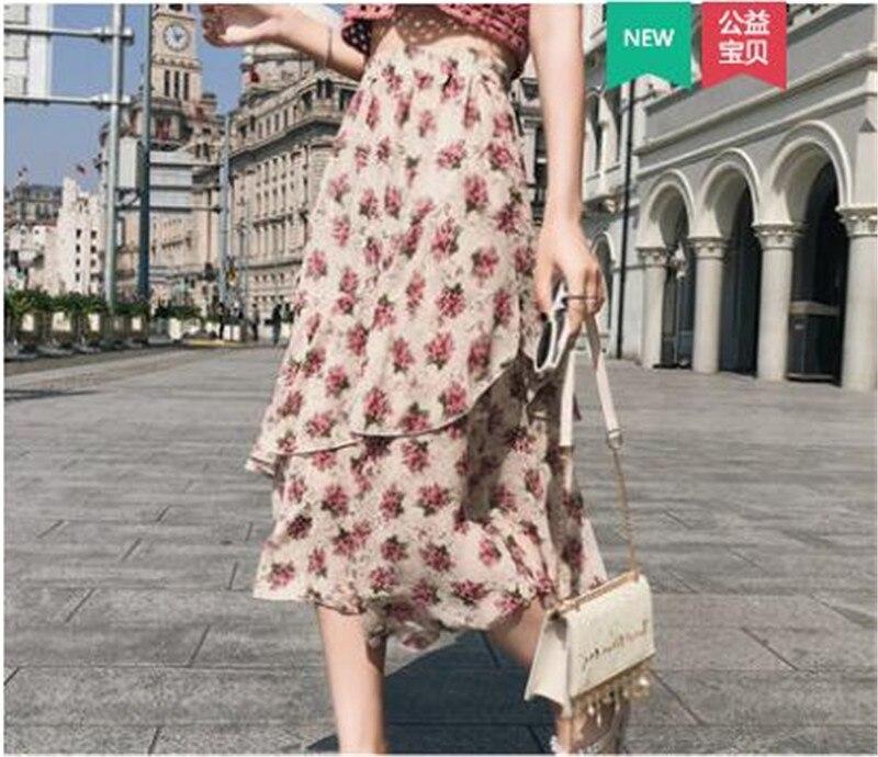 Fashion Ruffled Trim Midi Skirt Empire Bohemia Flower Printed Skirts High Waist Irregular Skirts Summer Holiday Chiffon Skirts