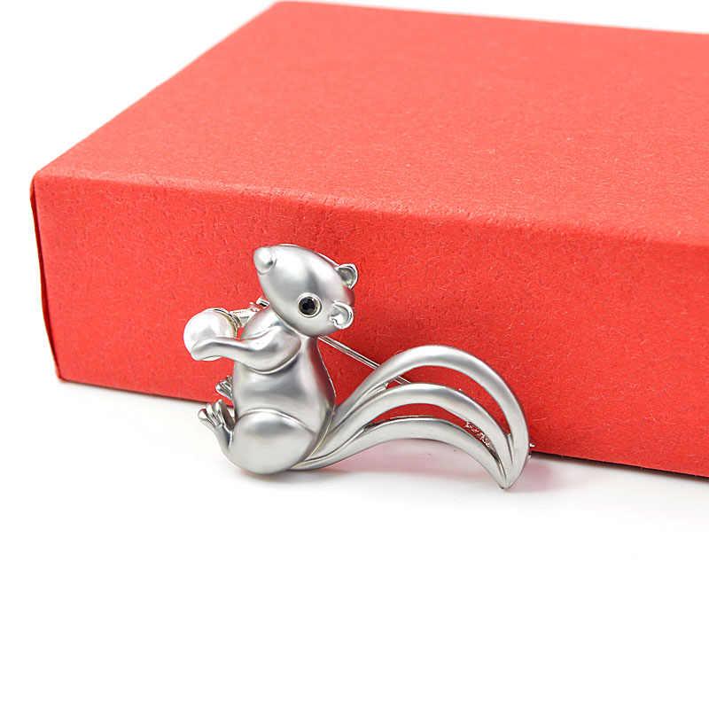 Cindy Xiang Tersedia 2 Warna Kecil Cute Tupai Bros untuk Wanita Hewan Perhiasan Pria dan Anak-anak Perhiasan Bros Pin Matte gaya