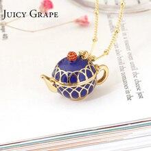 Juicy Grape Colgante de tetera pintada a mano para mujer, gargantilla de cadena larga, collar esmaltado, joyería, bisutería para mujer, regalos para mujer
