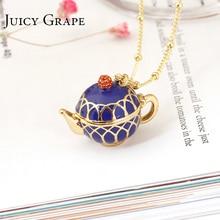 Juicy Grape Hand Painted Teapot Pendant Long Chain Choker Enamel Necklace Fashion Jewelry Bijoux Femme Bijuteria Gifts For Women