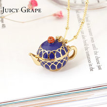 Juicy Grape Hand Painted Teapot Pendant Long Chain Choker Enamel Necklace Fashion Jewelry Bijoux Femme Bijuteria Gifts For Women(China)
