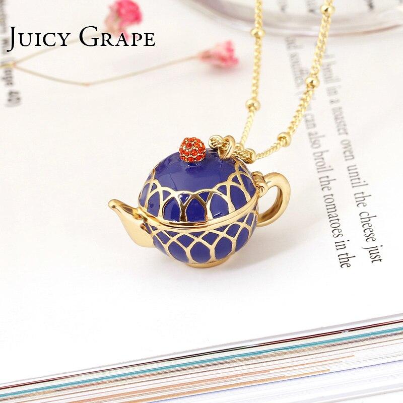 Juteux raisin peint à la main théière pendentif longue chaîne tour de cou émail collier Bijoux de mode Bijoux Femme Bijuteria cadeaux pour les femmes