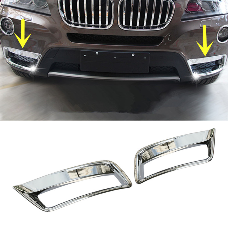 ABS Chrome Front Bottom Fog Light Lamp Cover Trim For BMW X3 F25 2011-2013 2pcs 2pcs chrome abs rear back window wiper cover trims for bmw x3 f25 2011 2015 car styling accessories