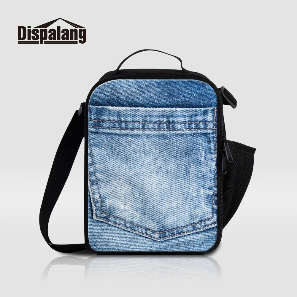 все цены на Dispalang Portable Thermal Insulated Lunch Bag Lunchbox Men Women Picnic Food Bags 3D Printing Denim Thermo Cooler Bag For Work онлайн