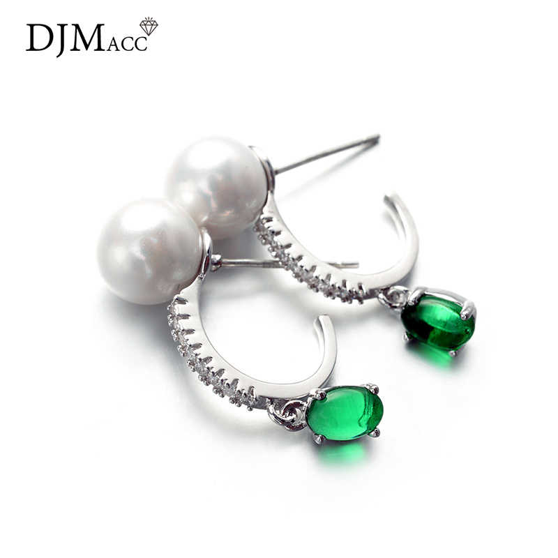 DJMACC Высокое качество модные ювелирные изделия бренд 925 серебро зеленый CZ цирконовая Жемчужина Висячие серьги для женщин (DJ0946)