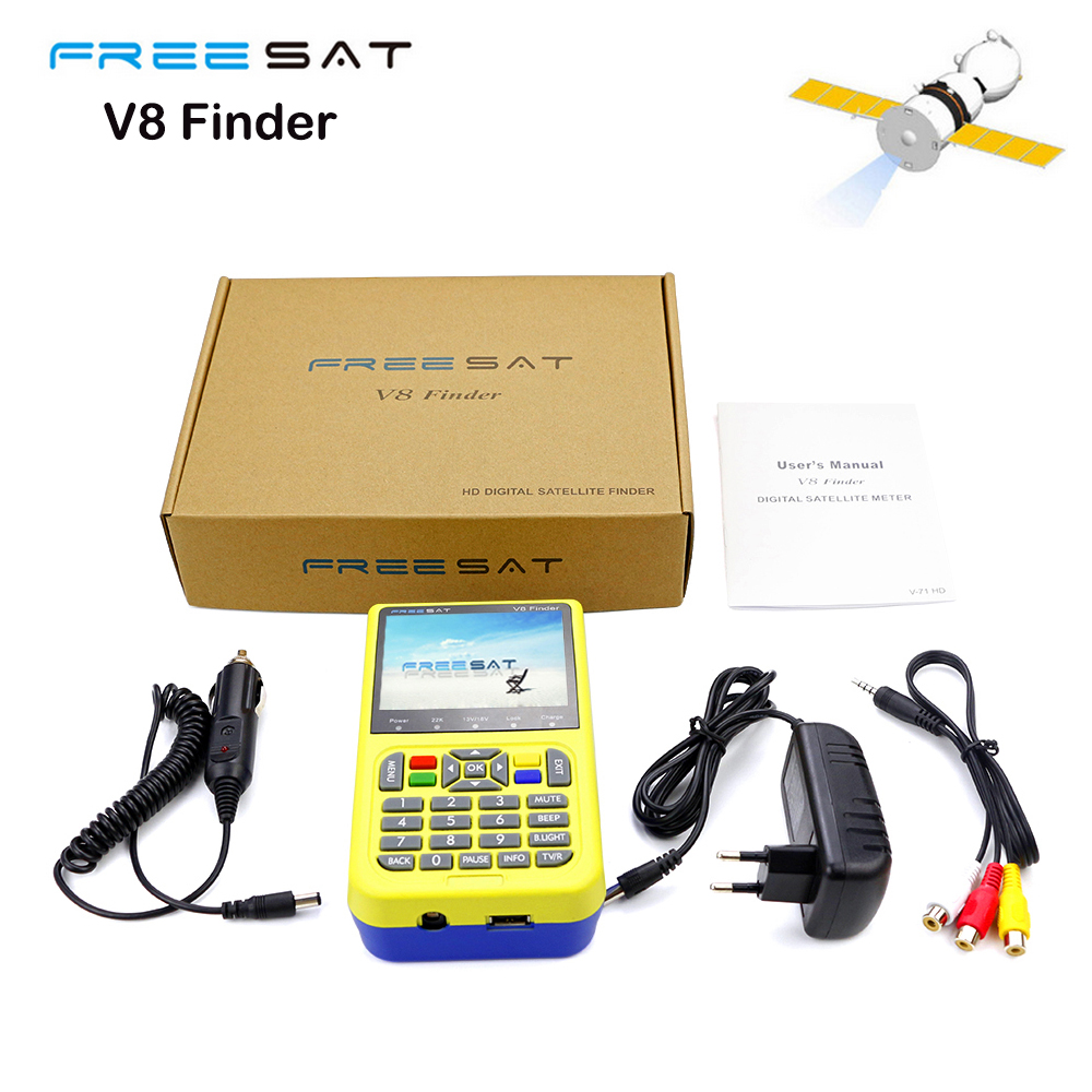 Freesat V8 Finder Satellite Signal Finder 3.5 DVB-S2/S FTA digital satellite meter satellite finder V-71 HD finder For TV AV sf 9505a 2 3 digital satellite signal finder meter w compass black
