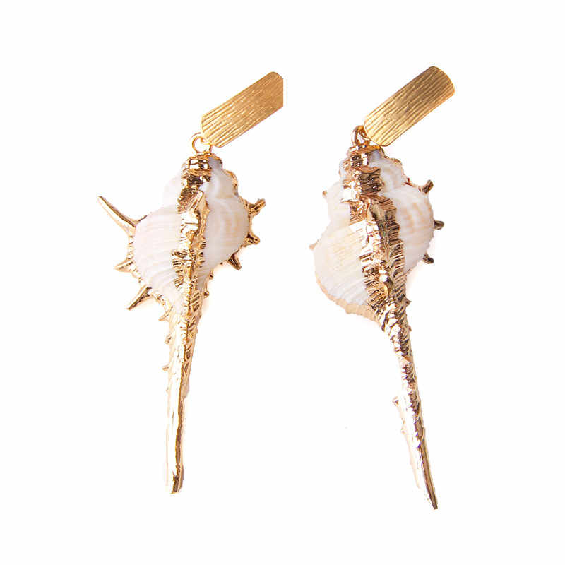 טבעי פגז תכשיטי סטי נשים שרשרת זהב שרשרת קונכייה תליון צווארון פגזים זרוק עגילי נשים סדיר להתנדנד עגילים