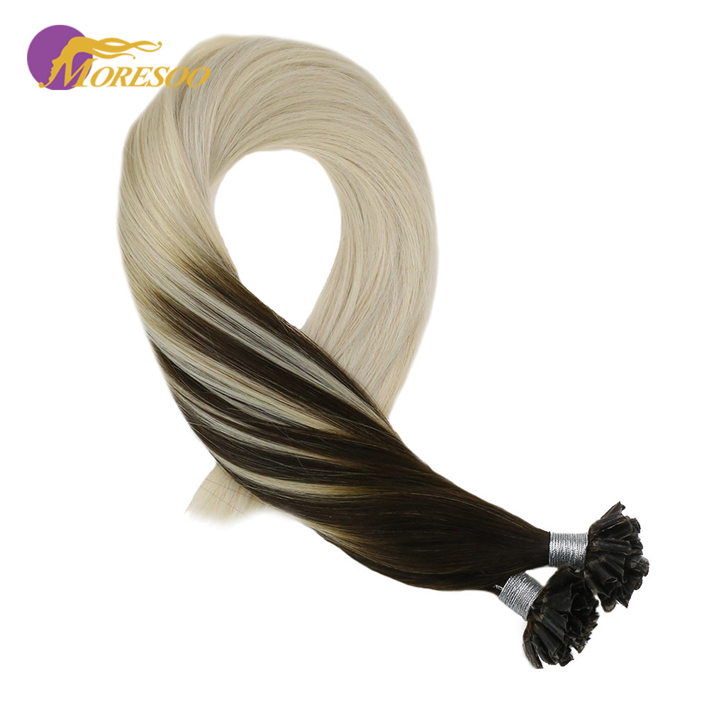 Moresoo Pre-Bonded Nail/U Tip Hair Balayage Color Darkest Brown #2 Mixed With Blonde #60 Remy Nail Tip Hair Extension 1g/s 50G