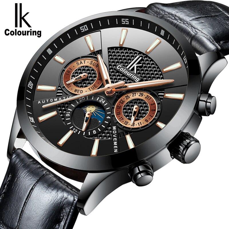 IK colouring Luxury Brand Mechanical Watch Man Self-Wind Automatic Watches Waterproof Genuine Leather Watchband 20mm Wrist Watch все цены