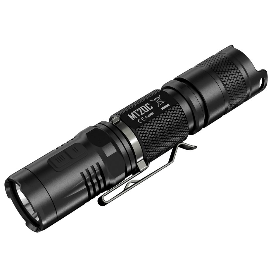 New Nitecore MT20C Portable Tactical Flashlight Cree XP-G2 R5 460 Lumens Red Light Illumination 1* 18650 Camping Hand Light 2017 new nitecore p12 tactical flashlight cree xm l2 u2 led 1000lm 18650 outdoor camping pocket edc portable torch free shipping