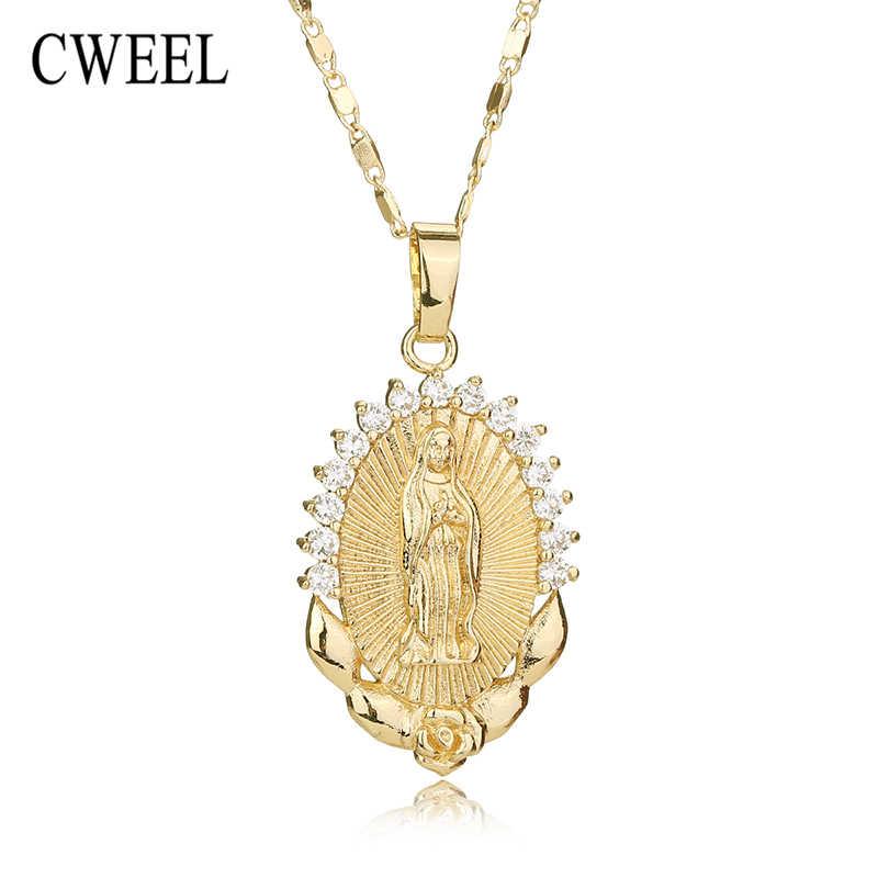 CWEEL שרשרת לנשים גברים הצהרת בציר ישו תליון חג נוצרי אפריקאי חרוזים זהב צבע אביזרי מסיבת מתנה