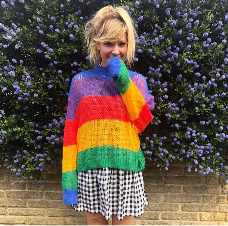 New Vintage Jumper Long Sleeve Rainbow Sweater Loose Stripe Knitted Pullover Womens Spring And Autumn Fashion 2018