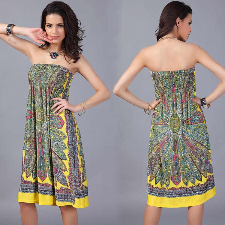 0031b085b08 ... Boho Summer Women Dress Sexy Sundresses Off Shoulder African Ethnic  Floral Print Tunic Beach Dresses Big ...