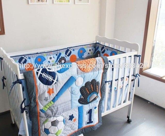 8 pcs Baby crib bedding sets Baseball Sports baby boy sports crib bedding  sets baby bed