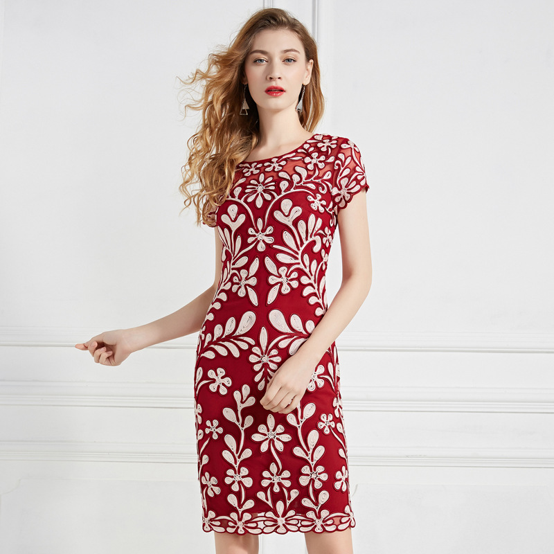 Spring Vintage dress 2019 new Spring embroidery fashion women Office Lady Dress plus size casual free