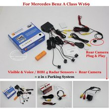 Liislee Car Parking Sensors + Rear View Camera = 2 in 1 Visual / BIBI Alarm Parking System For Mercedes Benz A Class W169
