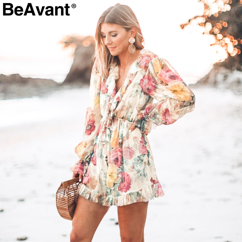 BeAvant Vintage ruffle floral women   jumpsuit   rompers High waist print summer beach playsuit Long sleeve casual loose overalls