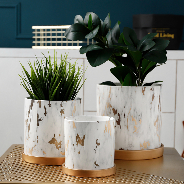 Nordic Golden Marble Pattern Succulents Pot Plant Pot with Tray Ceramic Plant Pots Home Office Christmas New Year Decoration 1