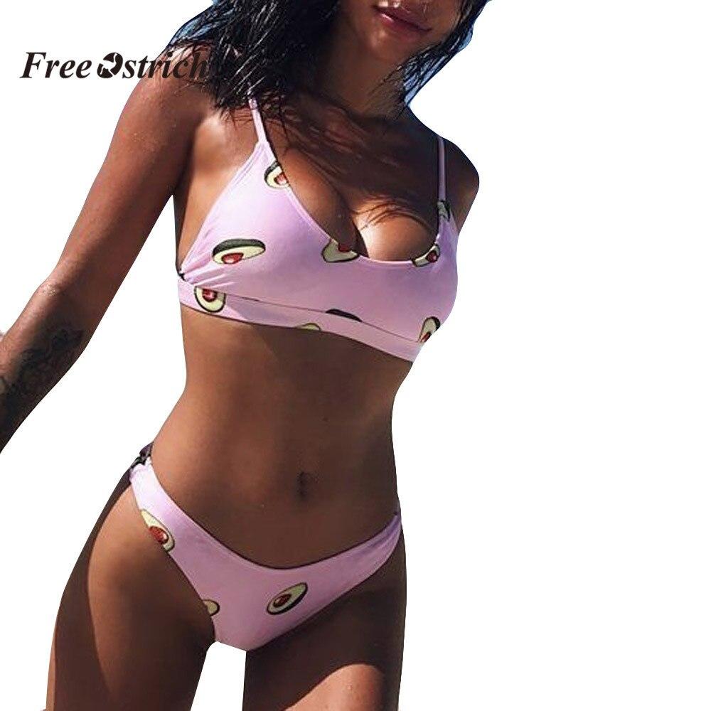 Free Ostrich Clothes underwear Women Print Push-Up Padded   Bra   sea Biquini   Set   underwear underwear suitming suit for women high