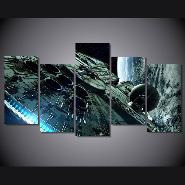 5 Pieces/set HD Printed millennium falcon star wars Canvas Print
